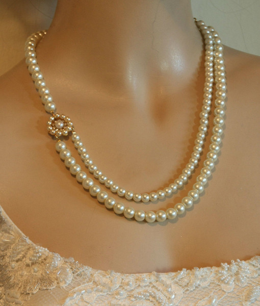 Wedding Vintage,Pearls Necklace,Bridal Victorian pearls- Marie