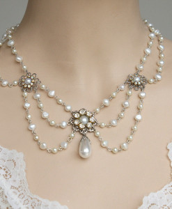 Victorian Bridal Necklace,Weddng pearl Necklace