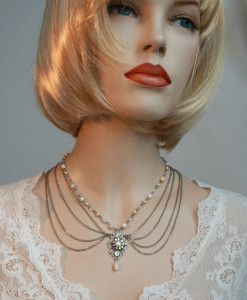 Victorian multi strands Bridal Necklace, Wedding chain,Pearl - Molly