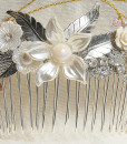 Bridal flower hair comb,Wedding pearl,silver,Flower, Swarovski