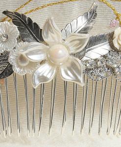 Bridal flower hair comb,Wedding pearl,silver,Flower, Swarovski