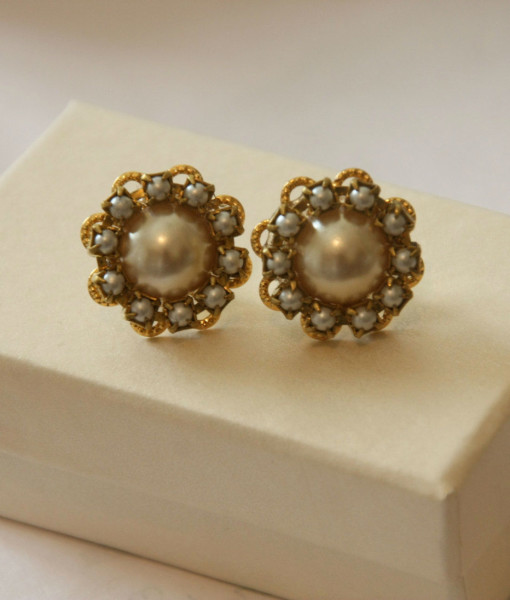 Bridal Pearl Earrings,Round Vintage,wedding pearl victorian - Lorene