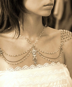 Shoulder Jewelry,Necklace For The Shoulder, mesh pearls - Audrey