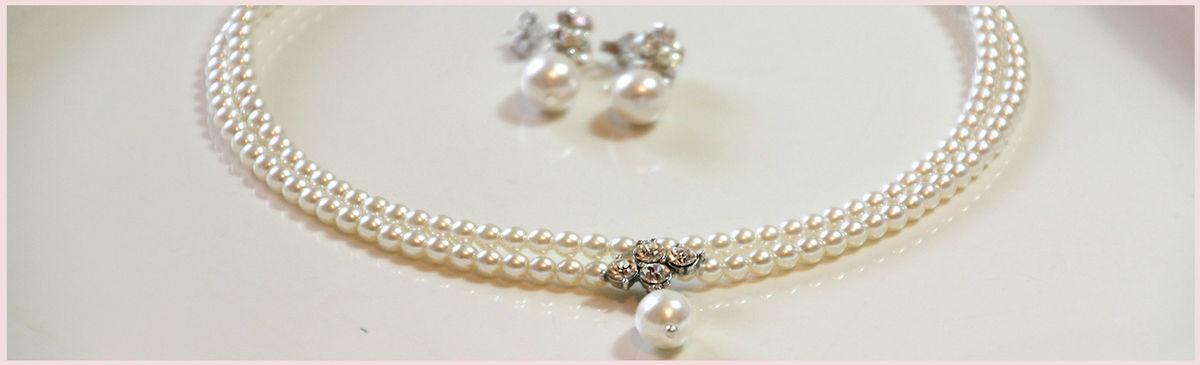 Bridal Necklace, Wedding, Pearls And Rhinestone Necklace